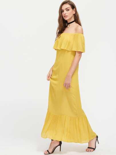 Frill Bardot Neck Tiered Hem Crinkle Dress