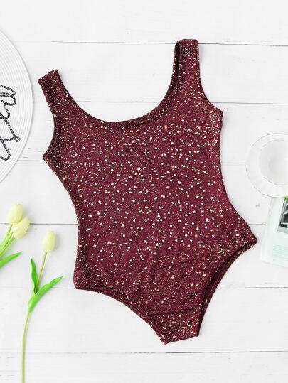 Rhinestone Overlay Dot Print Swimsuit