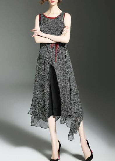 Color Block Split Asymmetric Dress