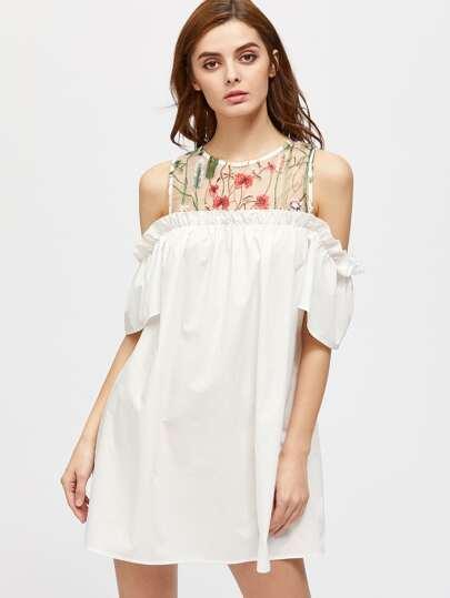 Embroidered Mesh Yoke Open Shoulder Frill Dress