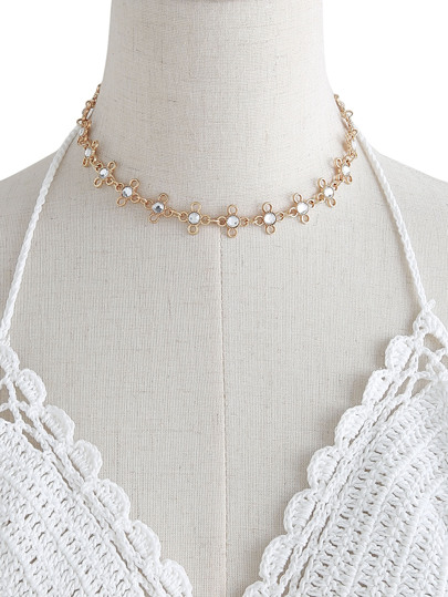 Rhinestone Detail Metal Flower Chain Choker