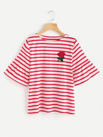 Embroidered Rose Applique Trumpet Sleeve Striped Tee