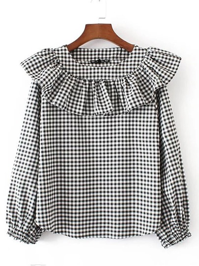 Lantern Sleeve Checkerboard Ruffle Blouse