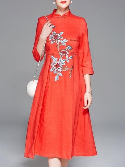 Flowers Embroidered Vintage Dress
