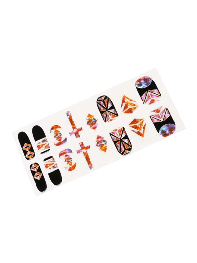 Geometric & Galaxy Pattern Nail Art Sticker
