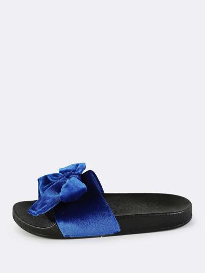 Velvet Bow Slip On Slides ROYAL BLUE