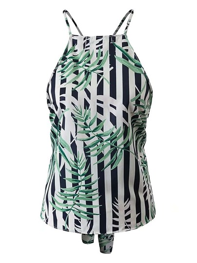 Vertical Striped Criss Cross Back Top