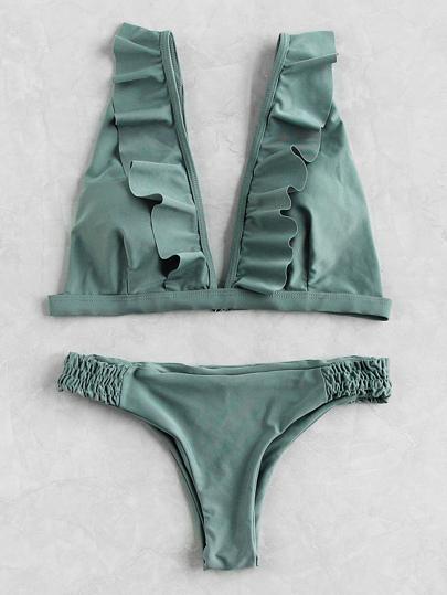 Set bikini con cintura elástica con volantes