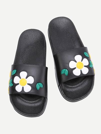 Flower Design PU Flat Slides