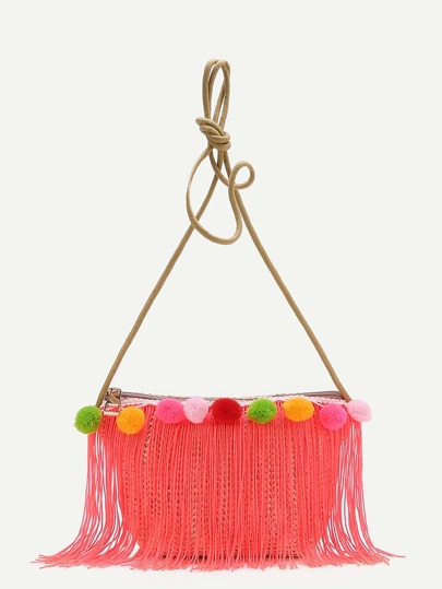 Pom Pom Embellished Straw Crossbody Bag With Fringe