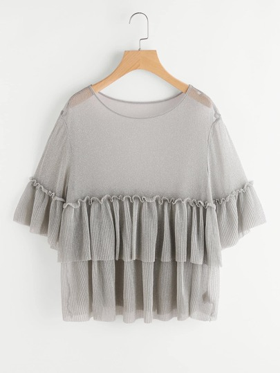 Pleated Ruffle Trim Semi Sheer Loose Knit Top
