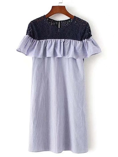 Contrast Lace Shoulder Ruffle Trim Dress