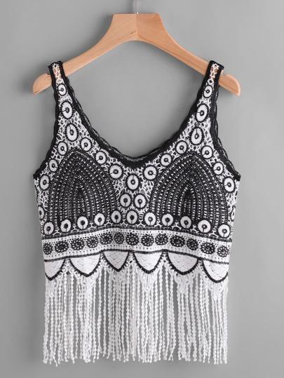Camisole een crochet avec des franges