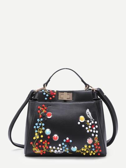 Studded Detail Twist Lock Grab Bag