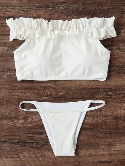 Frill Detail Bardot Bikini Set