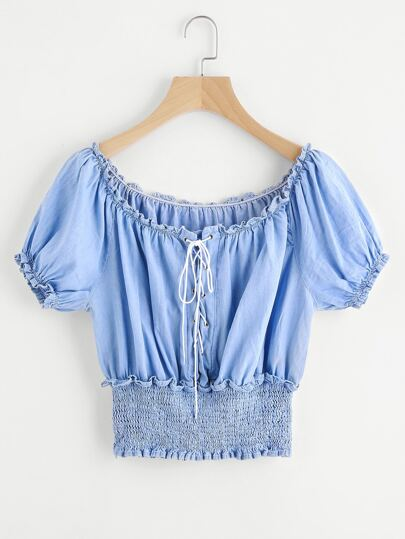 Lace Up Front Frill Shirred Chambray Top