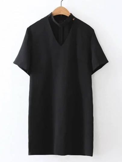 V-Cut Zipper Back Dress