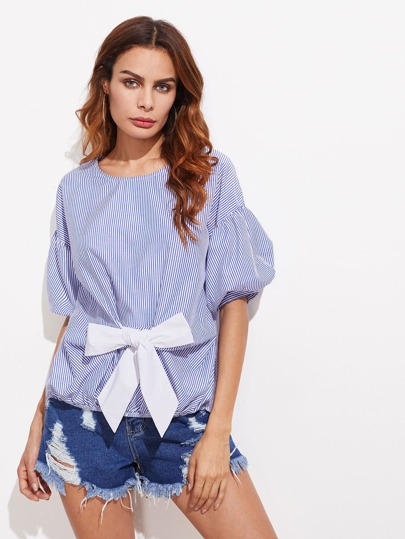 Drop Shoulder Puff Sleeve Contrast Bow Front Blouse