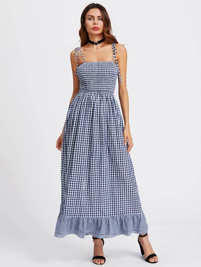 Self Tie Shoulder Smocked Bodice Tired Hem Gingham Dress