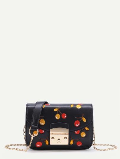 Cherry Embroidery Flap PU Bag