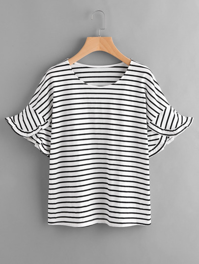 Horizon Striped Frill Bell Cuff Tee