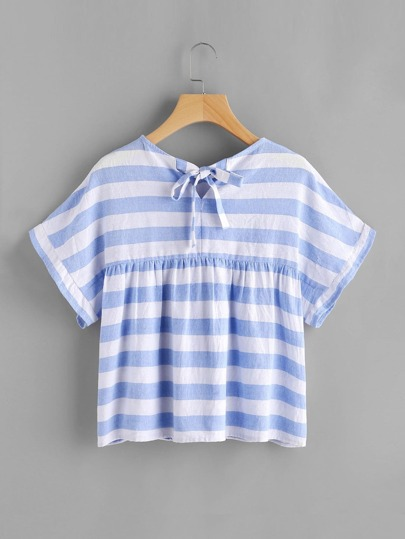Pointed Collar Tie Back Striped Babydoll Top