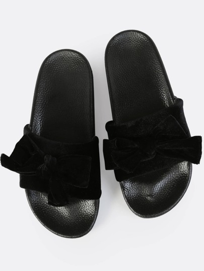 Bow Velvet Slides BLACK