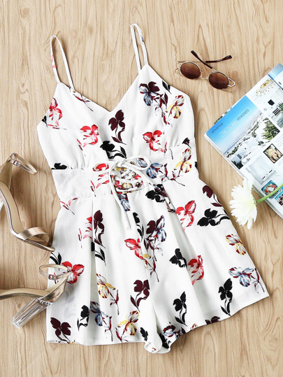 Body croset floral rayures cami avec lacet