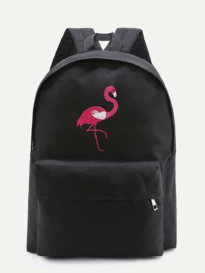 Flamingo Embroidery Zipper Front Canvas Backpack
