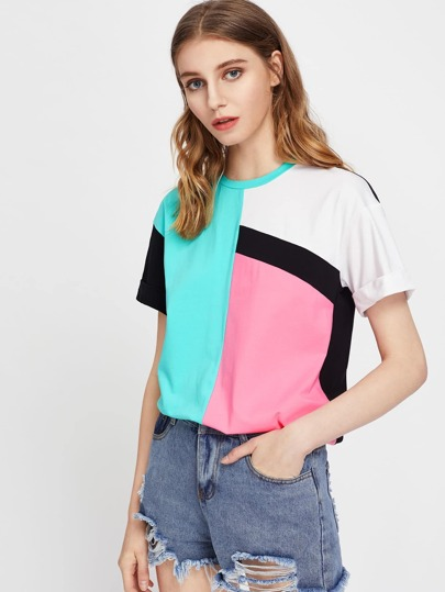 Drop Shoulder Cuffed Sleeve Cut And Sew T-shirt