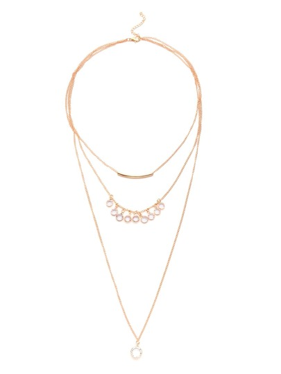 Rhinestone Embellished Layered Chain Necklace