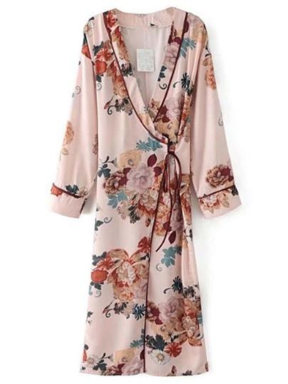 Floral Print Tie Waist Warp Dress
