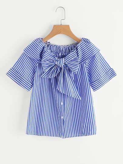 Contrast Striped Bow Tie Neck Blouse