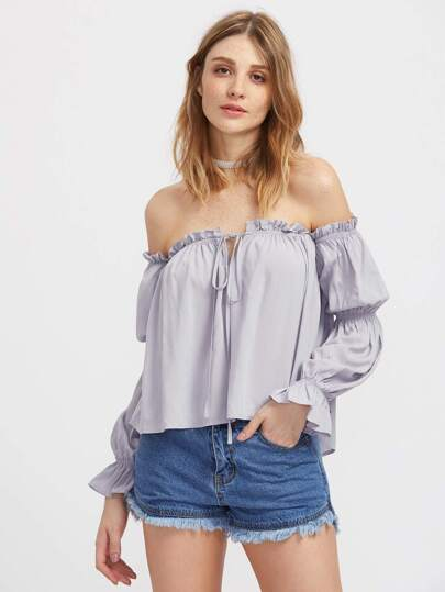 V Notch Tie Front Puffed Sleeve Bardot Top