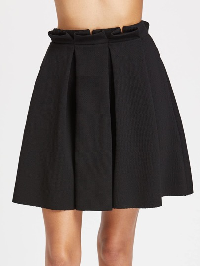 Frill Waist Box Pleated Textured Skirt