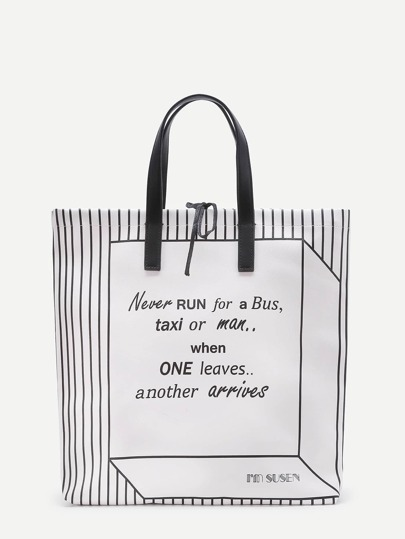 Maxi borsa di PU a strisce con stampa di lettera
