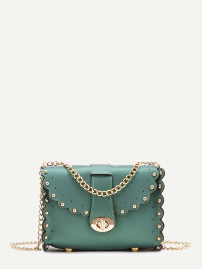Studded Detail Scalloped Trim PU Chain Bag