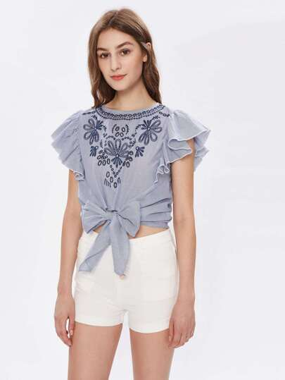 Flutter Sleeve Bow Tie Front Embroidered Top
