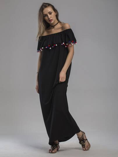 Flounce Layered Neckline Pom Pom Trim Full Length Dress