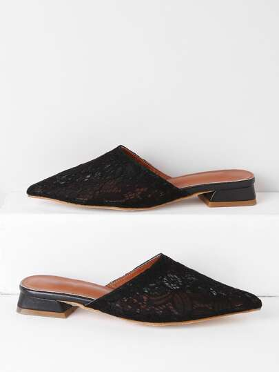 Point Toe Lace Flat Slippers