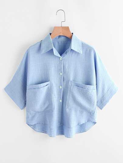 Blusa asimétrica con bolsillos