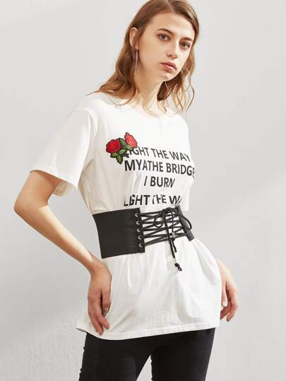Embroidered Rose Applique Corset Belt Graphic Tee