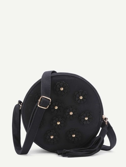 Flower Embellished Round Shoulder Bag With Tassel