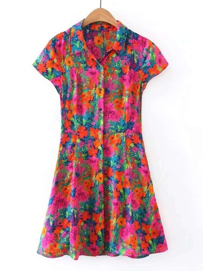 Cap Sleeve Floral Print A Line Dress