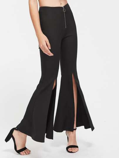 Exposed Zip Front Slit Flare Pants