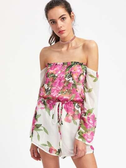 Florals Bardot Drawstring Romper