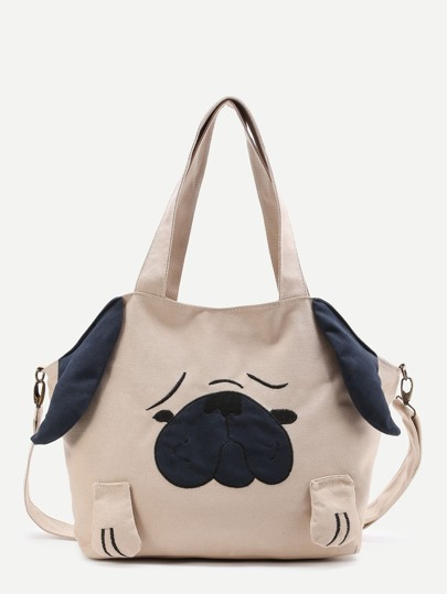 Dog Pattern Canvas Shoulder Bag