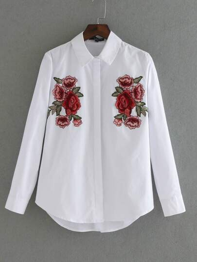Applique Embroidered High Low Blouse