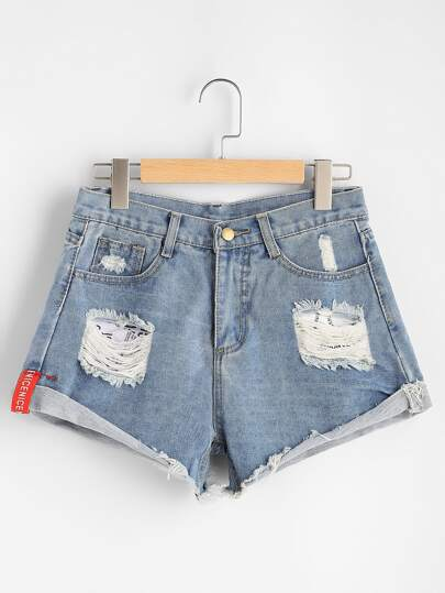 Distressed Rolled Hem Denim Shorts