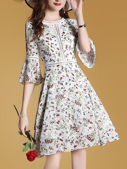 Bell Sleeve Mesh Floral Dress